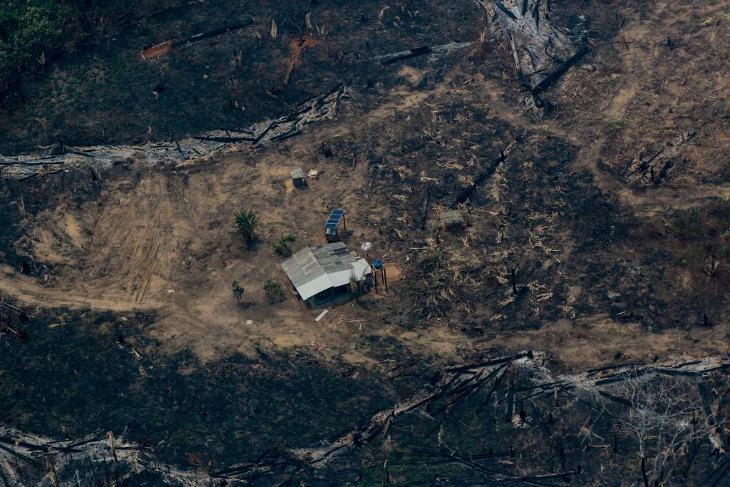 An aerial view shows burned, cleared land surrounding a building in northwestern Brazil.