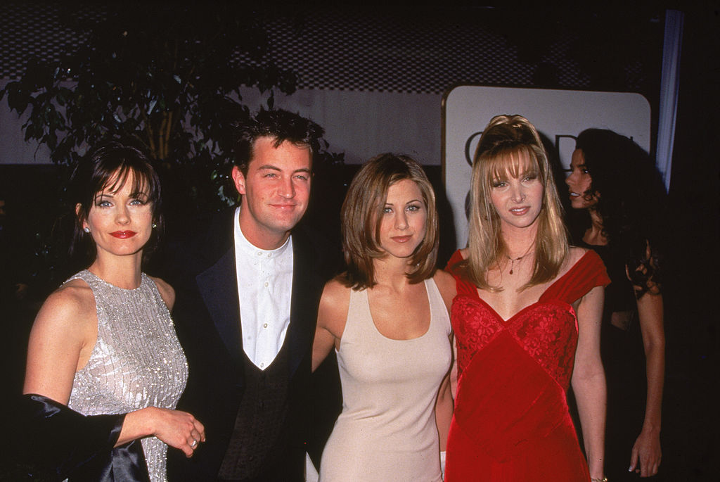 American actors Courteney Cox, Matthew Perry, Jennifer Aniston, and Lisa Kudrow
