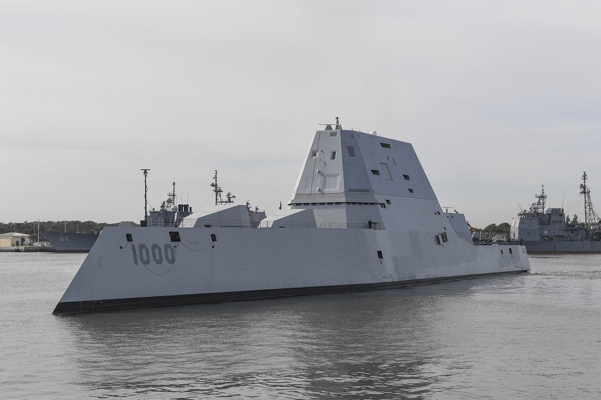 The guided-missile destroyer USS Zumwalt (DDG 1000) in the Naval Station Mayport