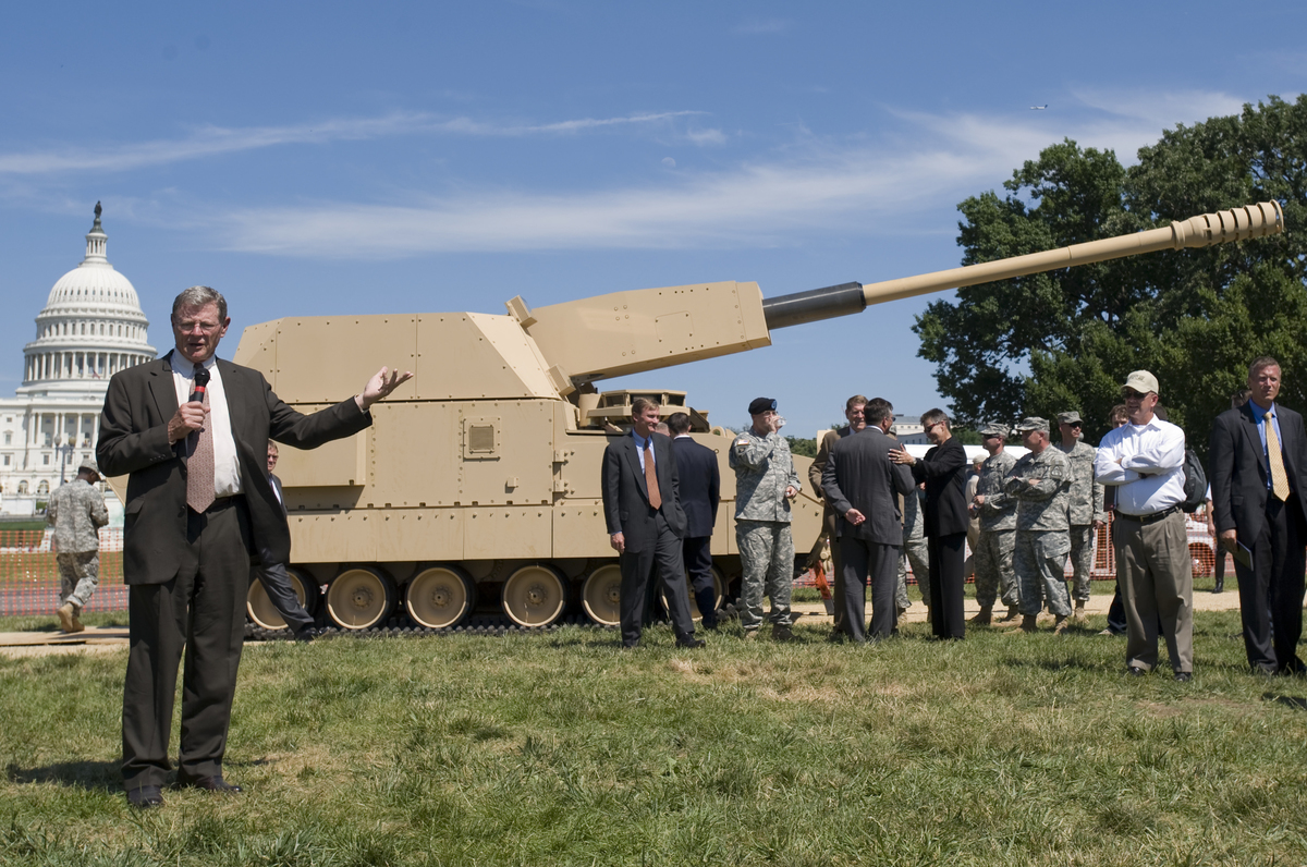 Sen. James Inhofe, R-Okla., speaks during the unveiling event of the first Future Combat System Manned Ground Vehicle