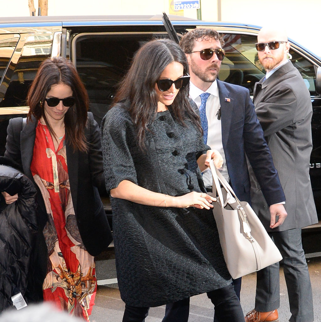 Meghan, Duchess of Sussex and Abigail Spencer are seen in the Upper East Side on February 19, 2019 in New York City.