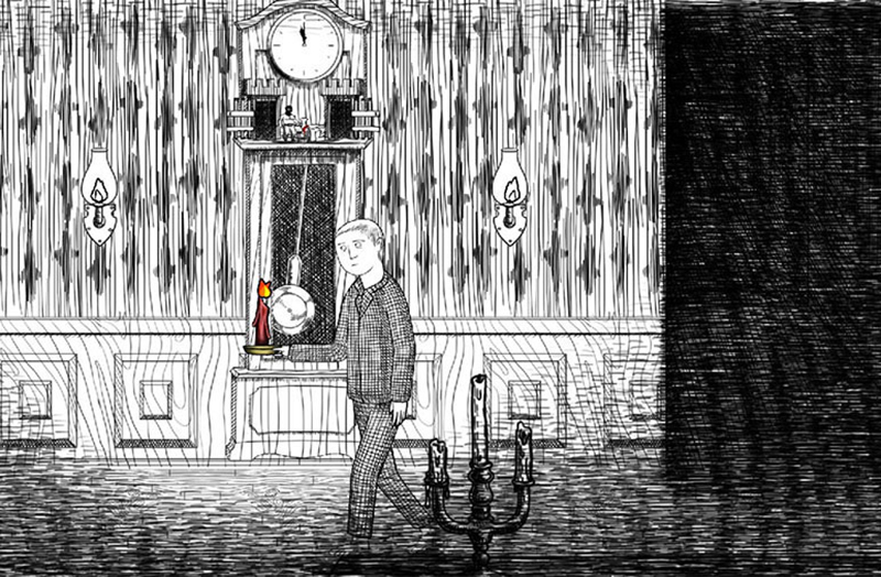 In the game Neverending Nightmares, the protagonist, Thomas, walks with a candle
