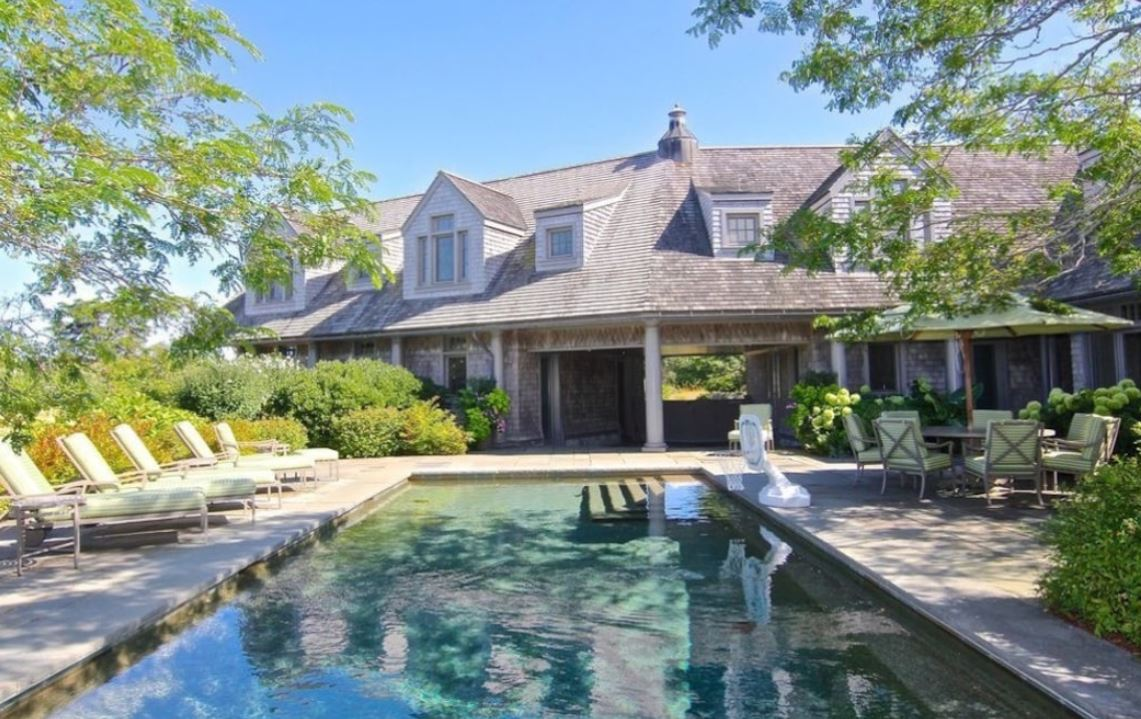 The private outdoor pool in the Edgartown estate