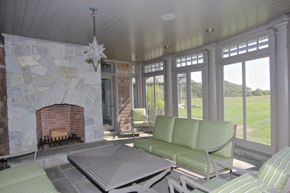 One of the Edgartown estate's sitting room leading to the outside lawn