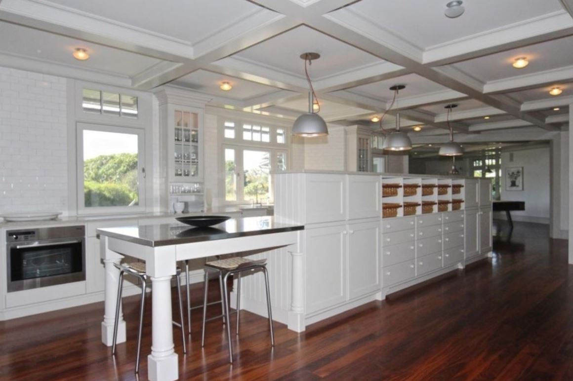 A wide shot of the chef's kitchen in the Edgartown estate