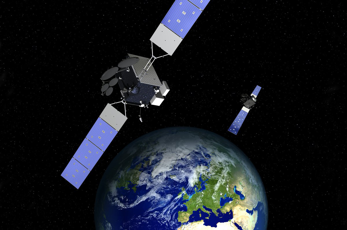 digital depiction of satellites sending communication to the Arctic regions