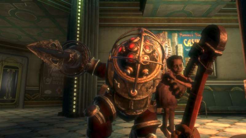 Big Daddy, an antagonist from bioshock, attacks the main character