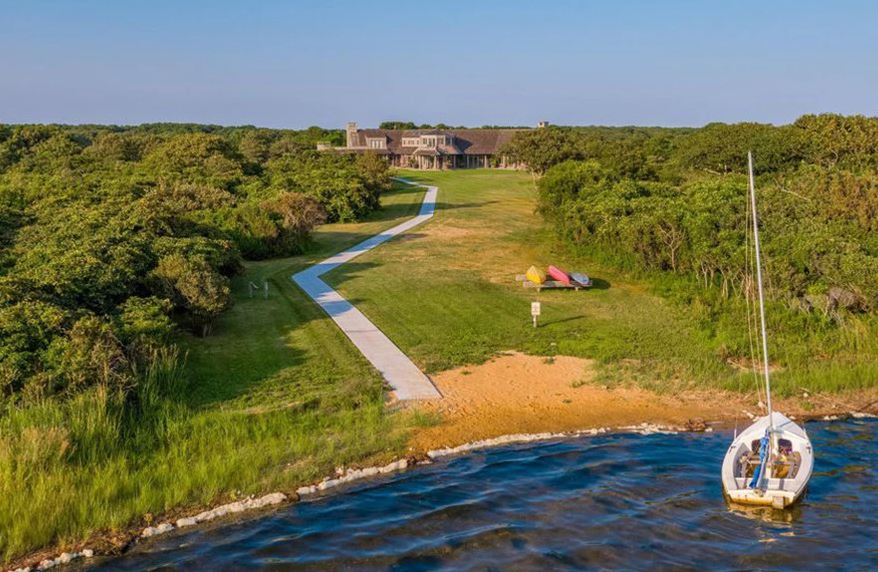 Aerial view of the path between the estate and Edgartown Great Pond