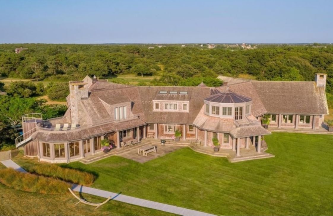 Front aerial view of the Edgartown estate home
