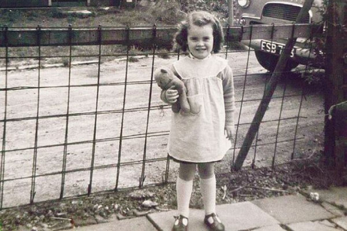 young susan boyle holding teddy bear