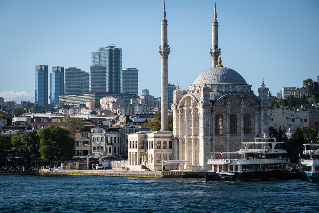 The shores of the Bosphorus water way meet the city of Istanbul in Turkey