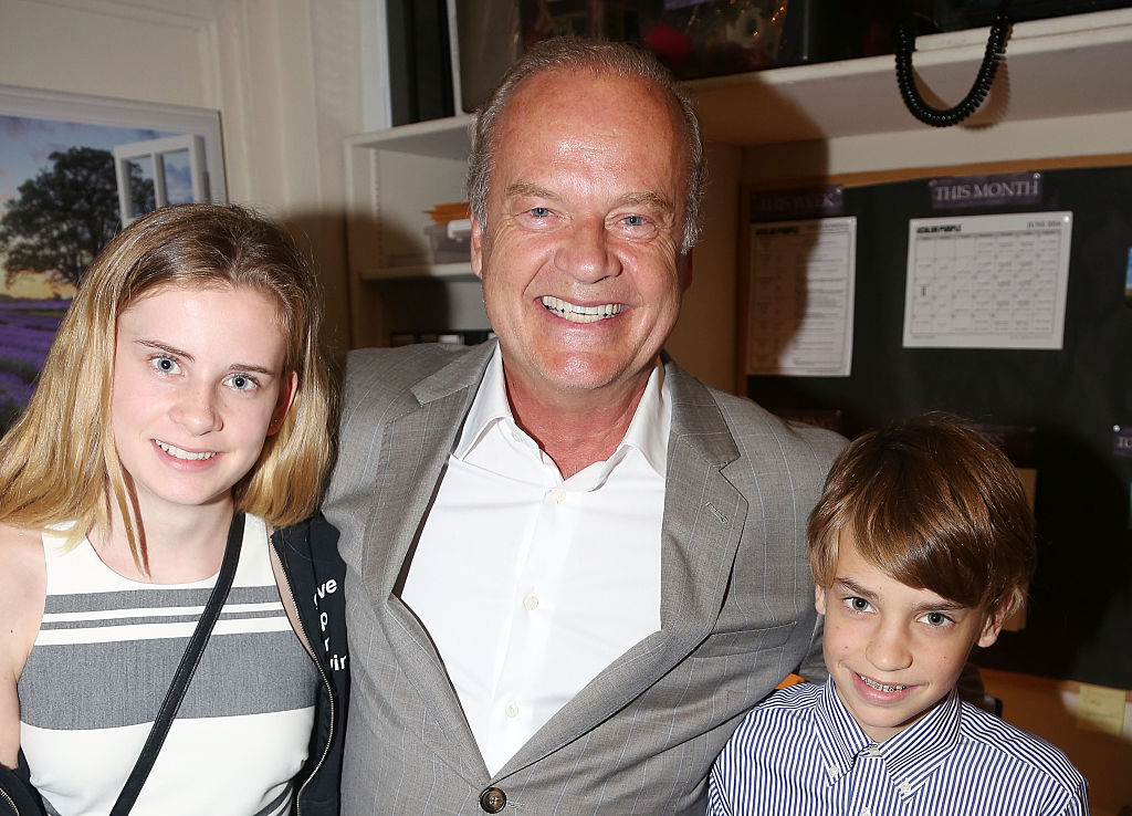 Mason Grammer, father Kelsey Grammer and son Jude Grammer pose backstage at the hit musical