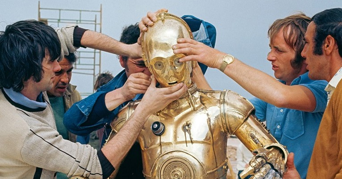 anthony daniels as c-3po during the filming of 1977's a new hope
