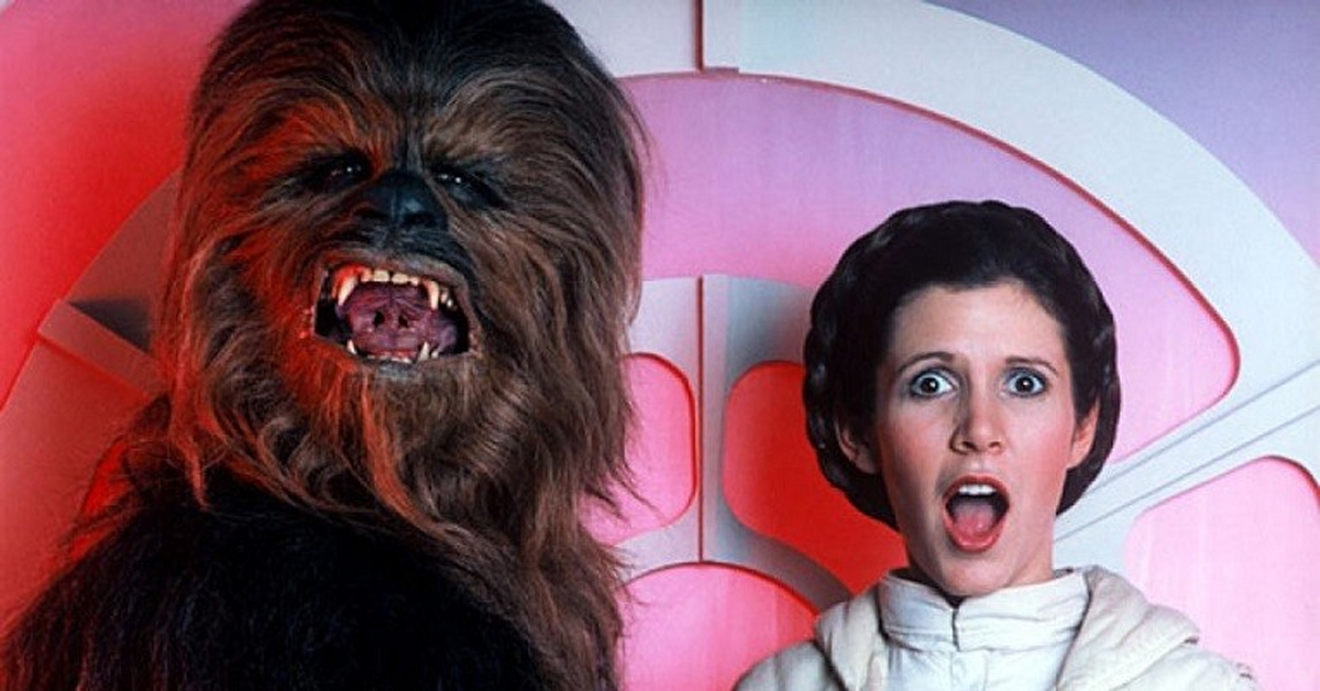 chewbacca and carrie fisher in star wars