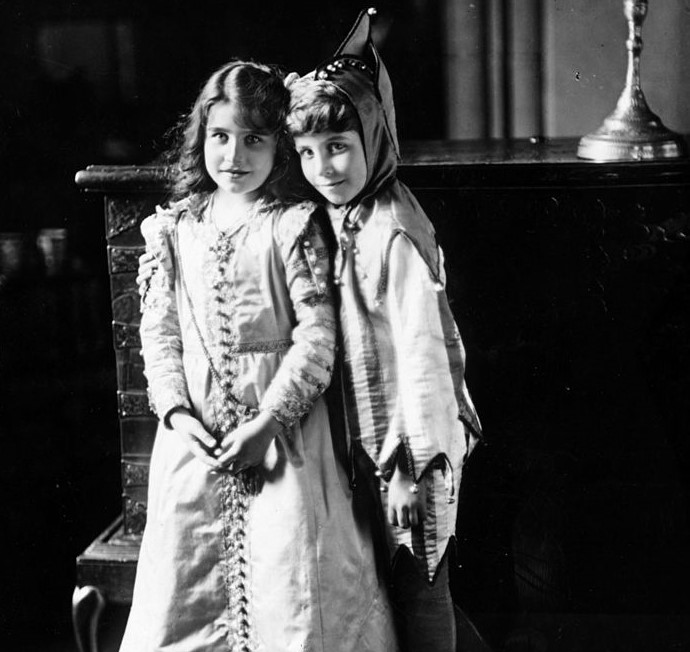 Future Queen Elizabeth with her brother, Lord David Bowes-Lyon