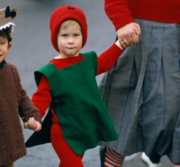 Prince Harry Dressed As A Red Goblin For The Christmas Play At School