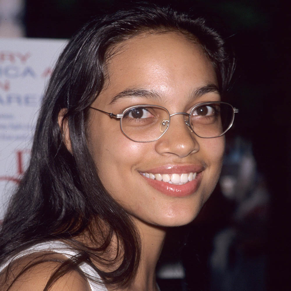 close up of Rosario Dawson