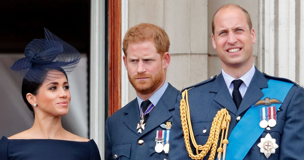 Meghan, Duchess of Sussex, Prince Harry, Duke of Sussex, Prince William, Duke of Cambridge stand on the balcony at buckingham palace