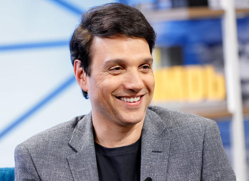 Ralph Macchio wears a youthful smile while on The IMDb Show.