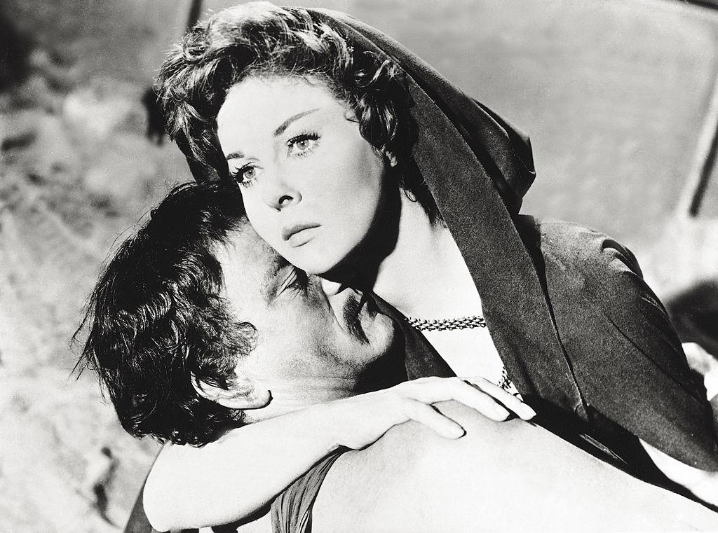 American actors Susan Hayward and John Wayne acting in 'The Conqueror'
