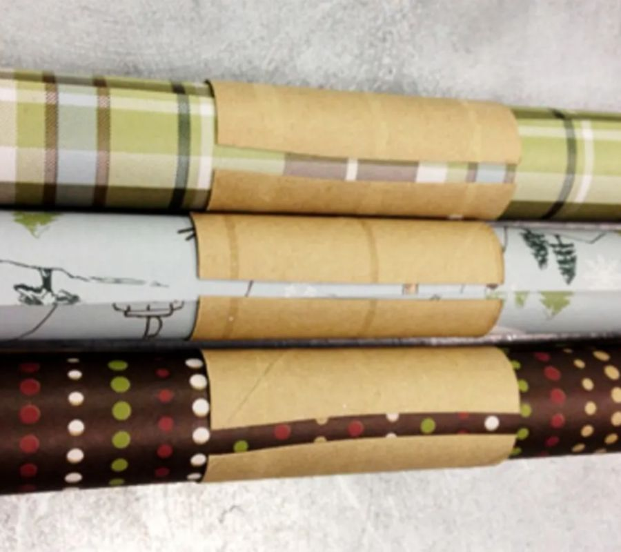 toilet paper rolls for storing wrapping paper