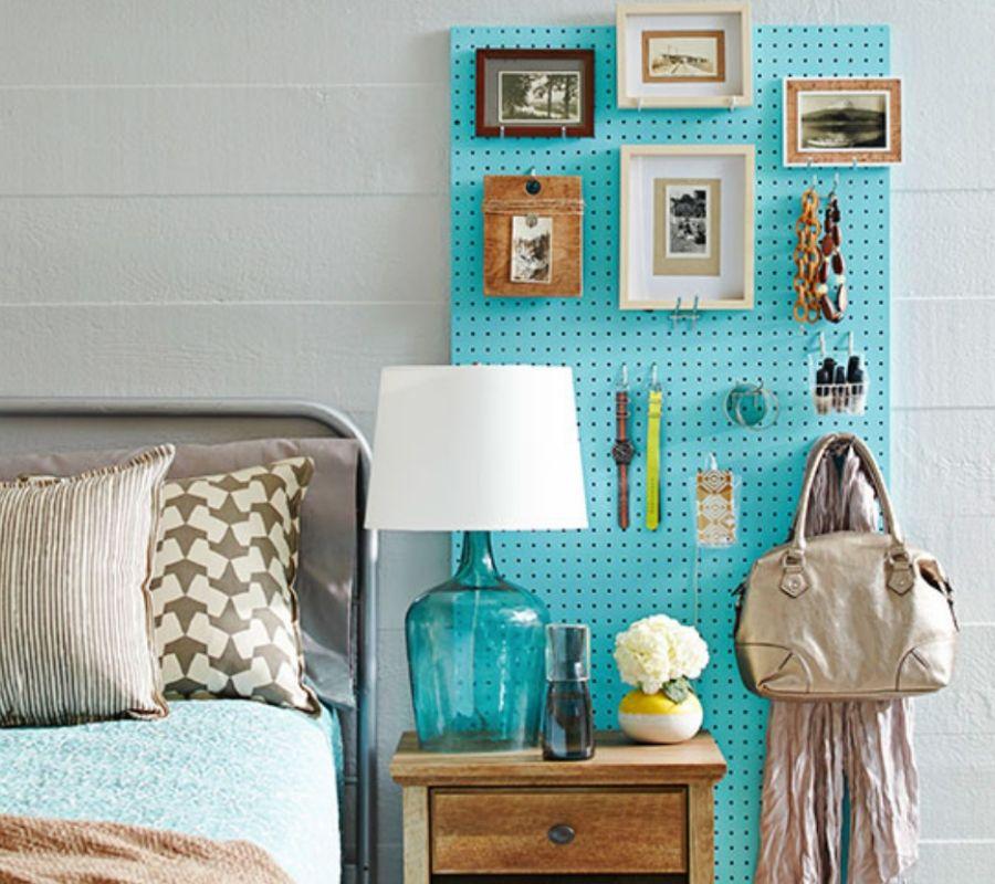using peg board for bedside storage