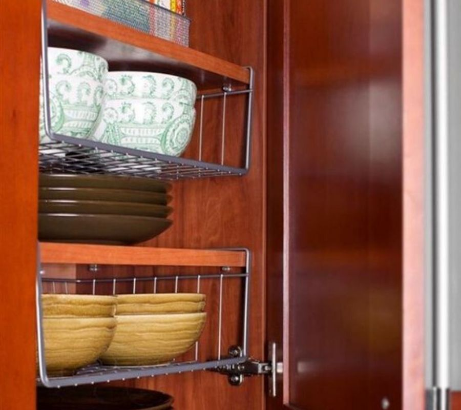 using hanging racks to store dishes