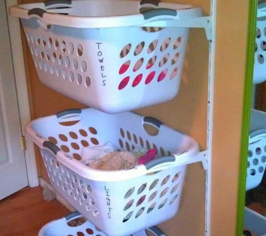 mounting laundry baskets to the wall