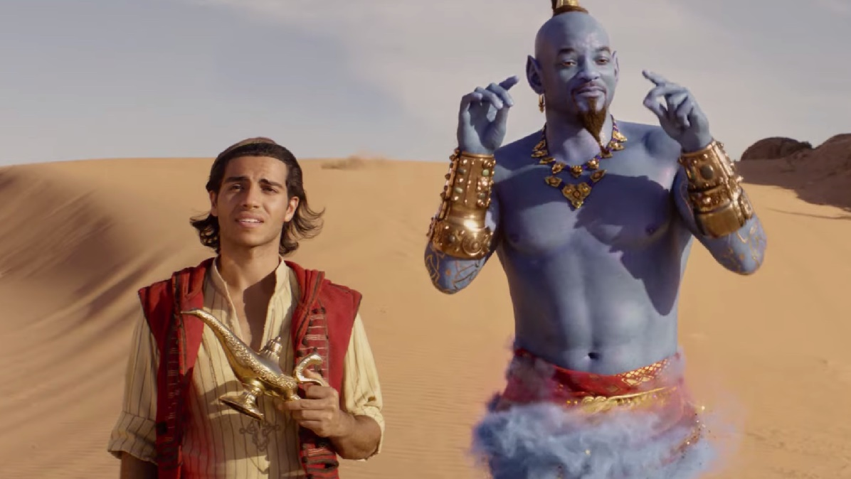 Will Smith dressed as the genie and Mena Massoud in Aladdin (2019)