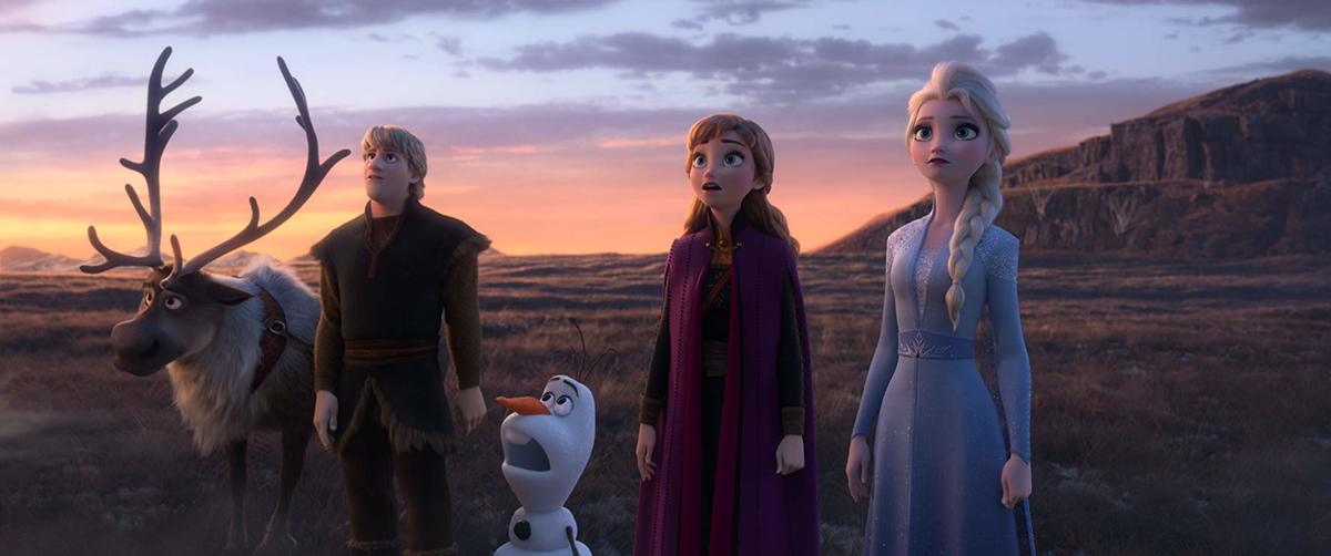 sven, kristoff, olaf, anna, and elsa in frozen II