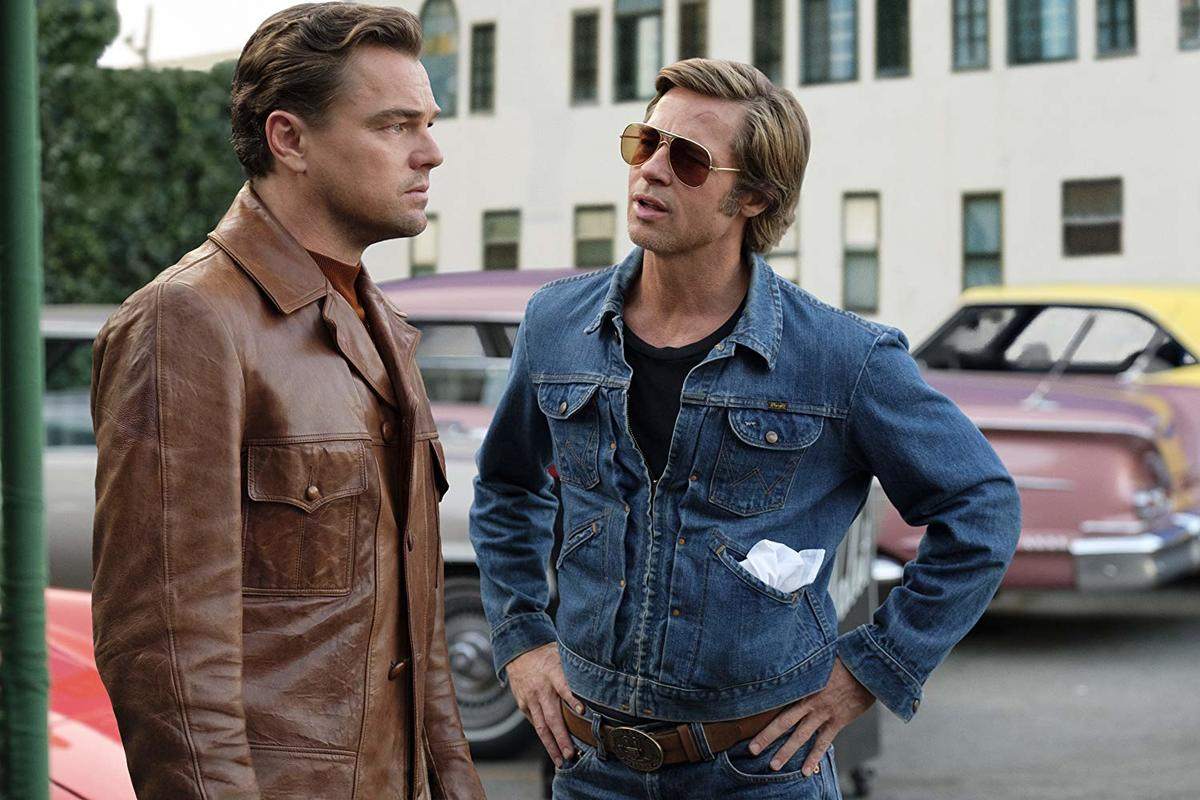 leonardo dicaprio and brad pitt in costume for once upon a time...in hollywood