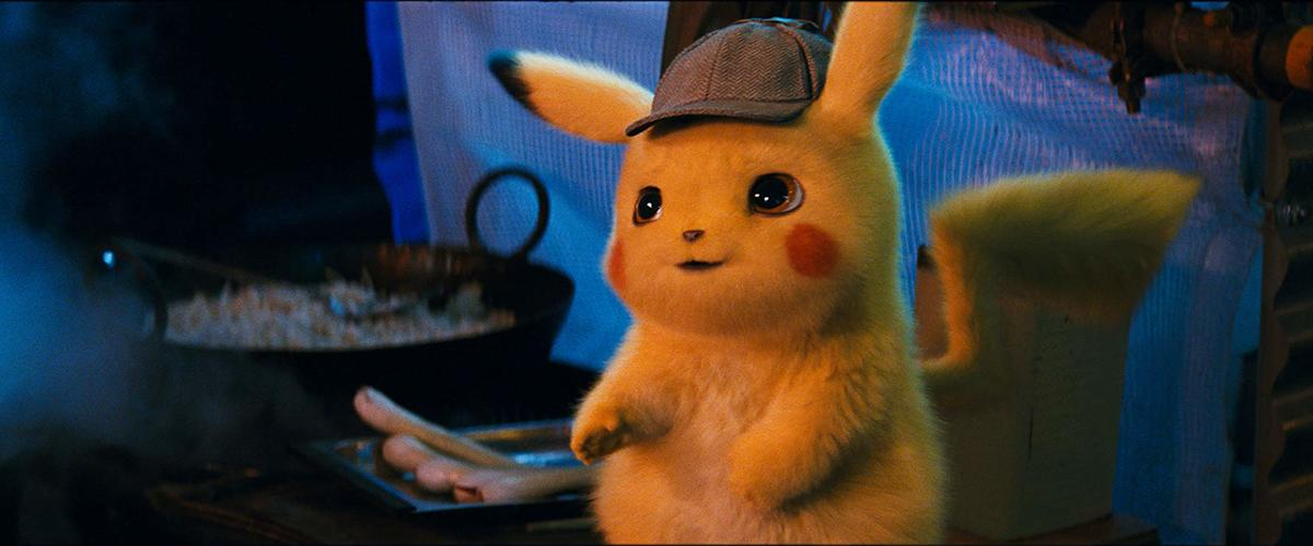 an animated pikachu dressed in a detective hat