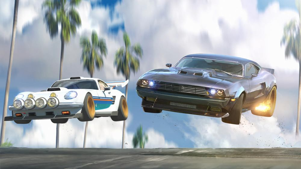 Two animated race cars are suspended in the air.