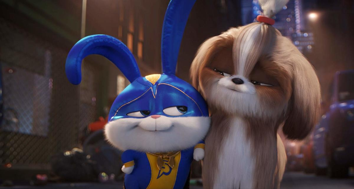 an animated bunny in a superhero outfit and a dog