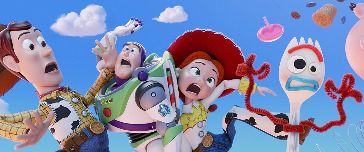 woody, buzz, jessie, and forky falling out of the sky