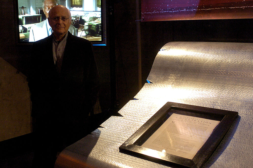 Norman Lear with an original copy of the Declaration of Independence