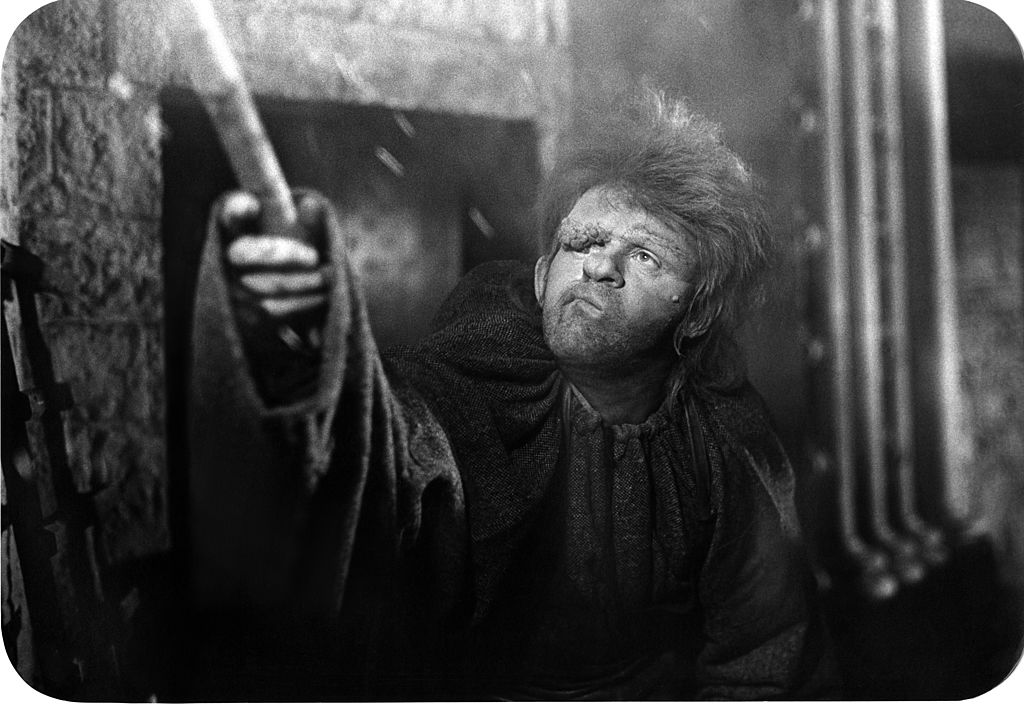 Anthony Hopkins acts as the Hunchback of Notre Dame.