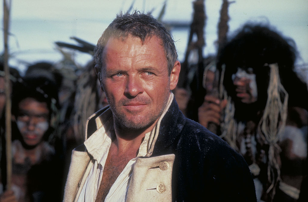 Anthony Hopkins looks stoic as a lietenant onboard a ship.