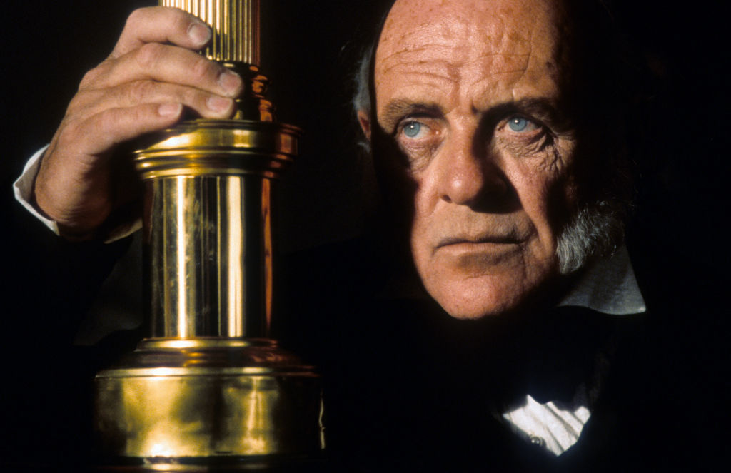 Anthony Hopkins looks serious.