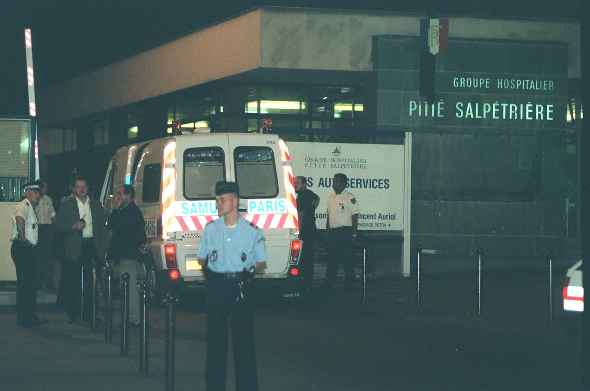 An ambulance is at the Pitié-Salpétrière Hospital, where Princess Diana died.