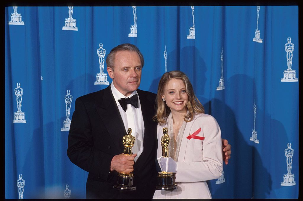 Anthony Hopkins and Jodie Foster hold their Academy Awards.