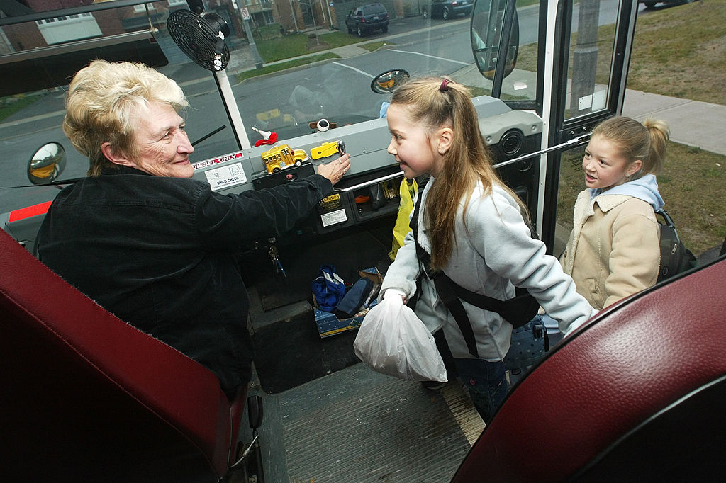 bus driver greets students