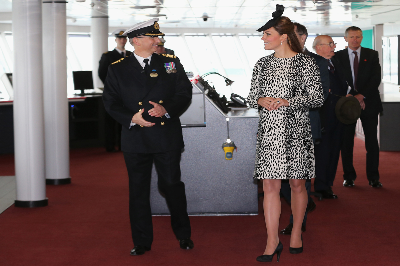 Captain Tony Draper gives Catherine, Duchess of Cambridge a tour on board the Princess Cruises ship.