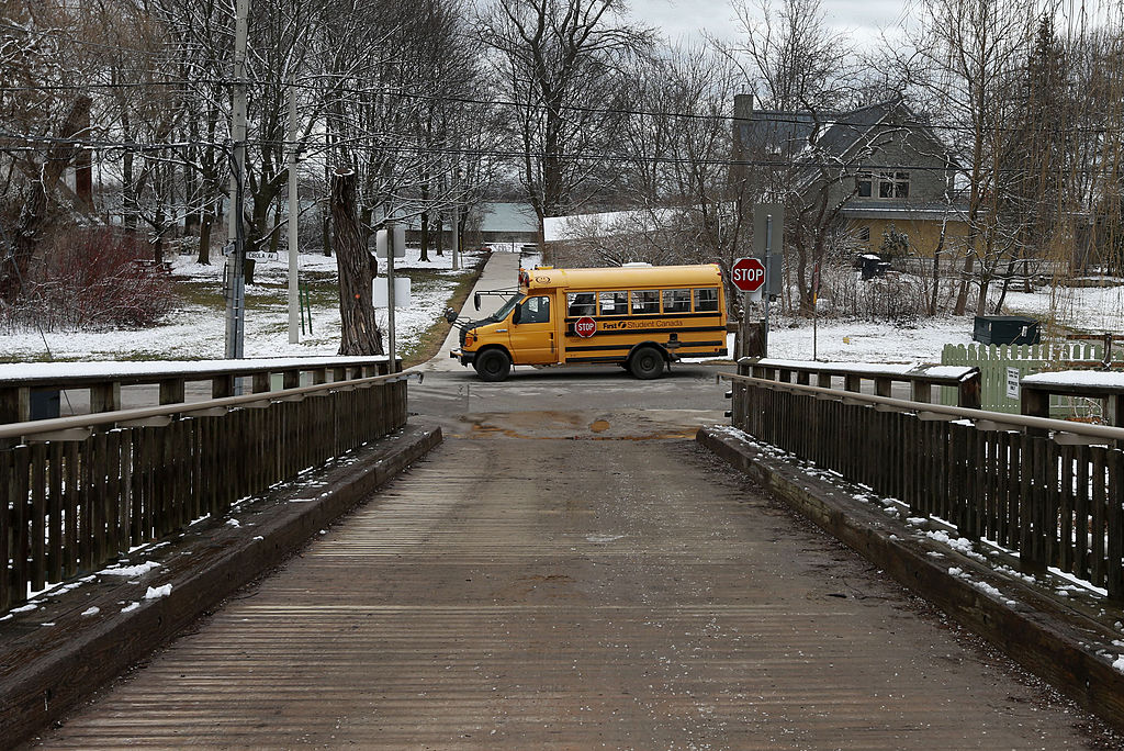 a school bus stopped in the middle of the road