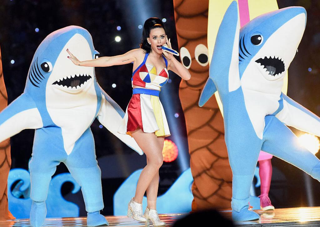 Katy Perry performs in front of two dancing sharks at the Super Bowl.