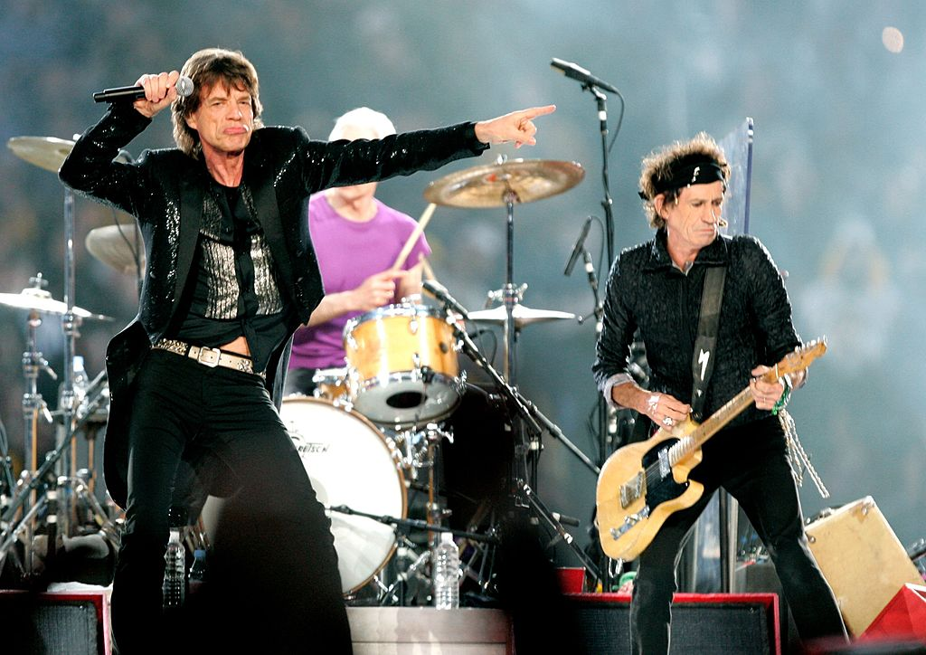 The Rolling Stones perform at the Super Bowl.