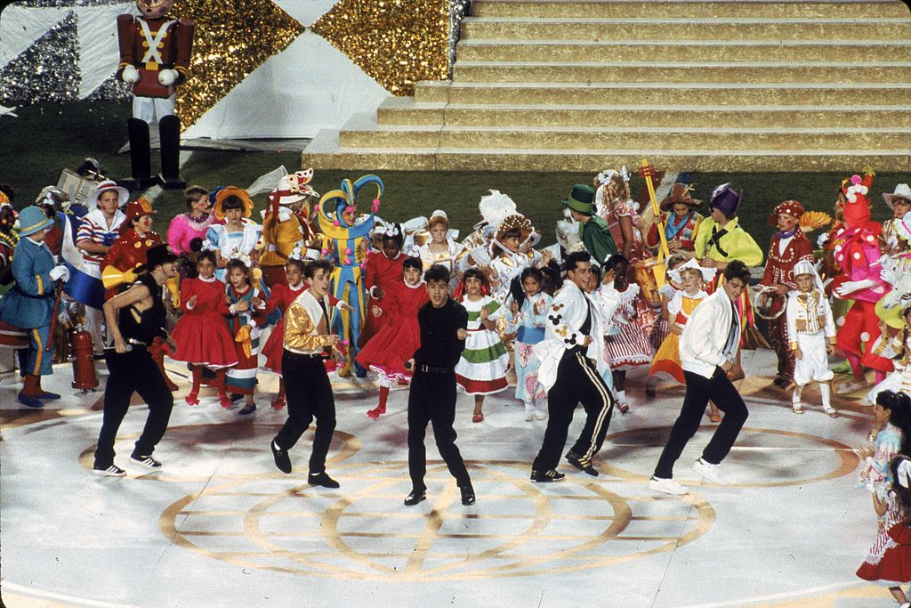 The New Kids On The Block perform during the 1991 Super Bowl.