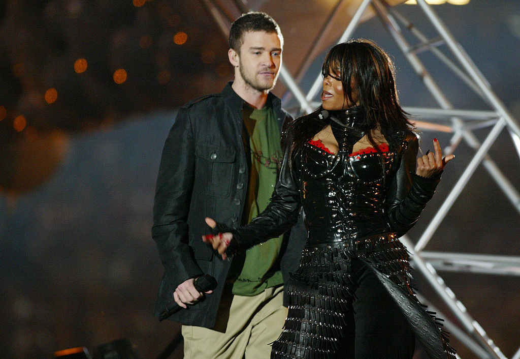 Justin Timberlake and Janet Jackson perform together during the Super Bowl.