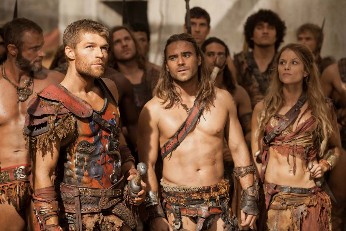 Ancient Roman gladiators are seen during the show Spartacus.