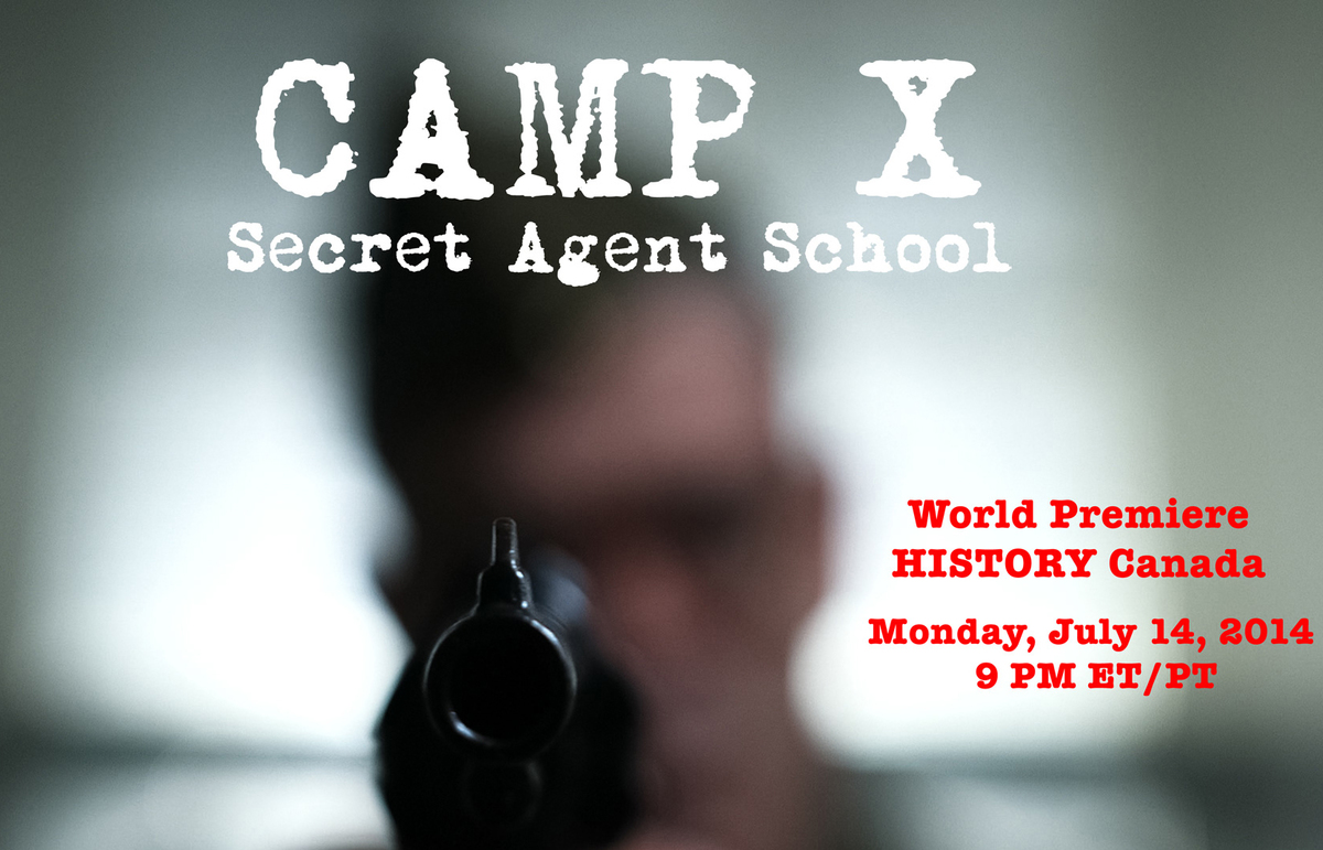 A spy in training is blurred in the background of a cover photo of Camp X.